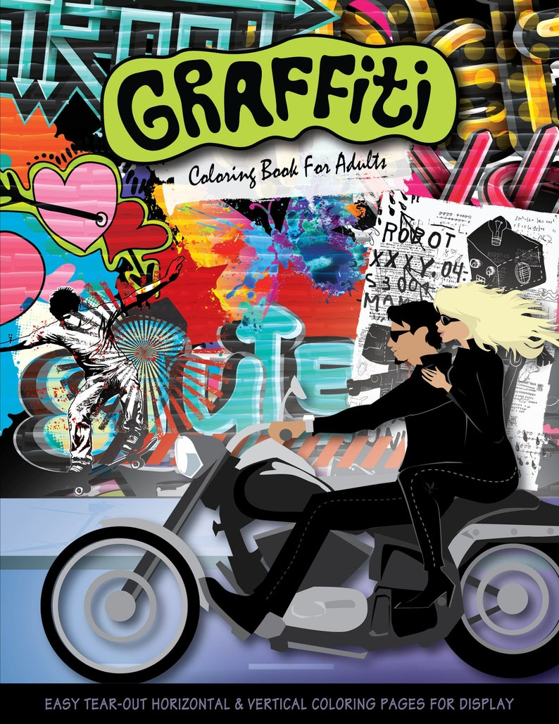 Graffiti is a coloring book for adults that explores street image 1