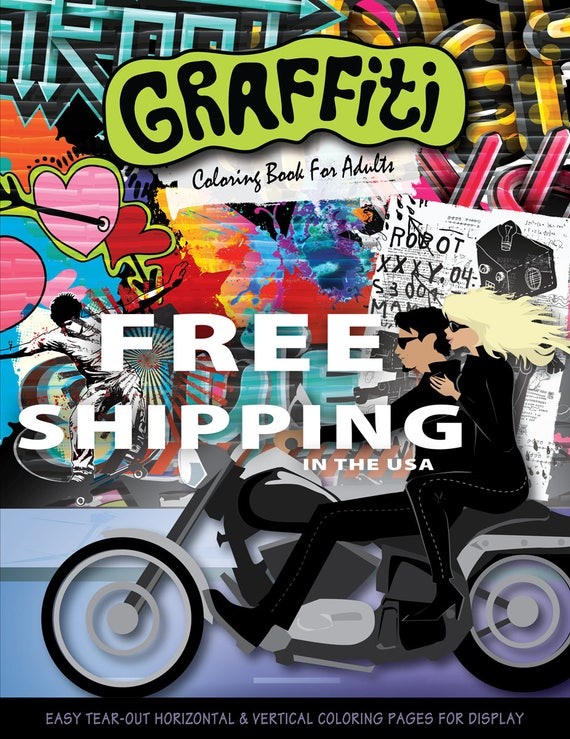 Graffiti Coloring Book For Adults Graffiti Coloring Book Etsy