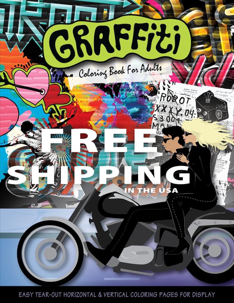 Kleurplaten Voor Volwassenen Op Reis.Graffiti Boek Kleurplaat Voor Volwassenen Volwassen Etsy
