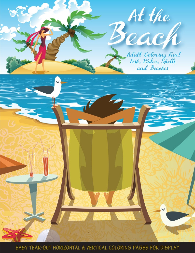 At the Beach. Travel through coloring: relax have fun and image 1