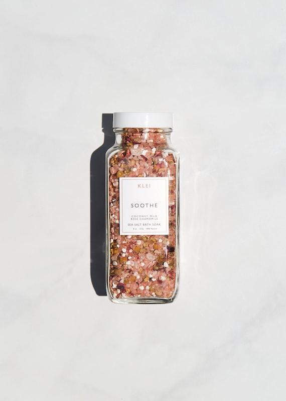 Apaiser la mer sel bain de trempage - bain de lait de coco, naturel bain de trempage, aromathérapie, sels de bain rose, bain et beauté, beauté naturelle, entretien auto