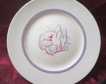 Vintage B & Co. Limoges France Cake Plate/Stand Artistic Design by L Bernardaud