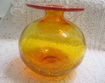 Vintage Amberina Crackle Glass Bulb Vase