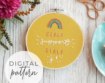 Girls Support Girls Embroidery Pattern | Beginner Intermediate Embroidery Pattern PDF, Modern Embroidery, Embroidery Pattern Download
