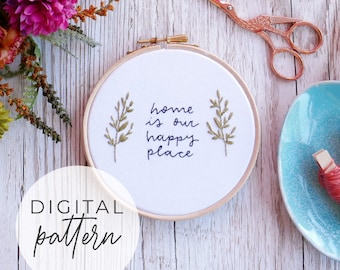 Happy Place Embroidery Pattern | Beginner Intermediate Embroidery Pattern PDF, Modern Embroidery, Embroidery Pattern Download