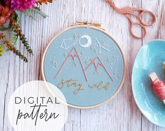 Stay Wild Embroidery Pattern | Beginner Intermediate Embroidery Pattern PDF, Modern Embroidery, Embroidery Pattern Download
