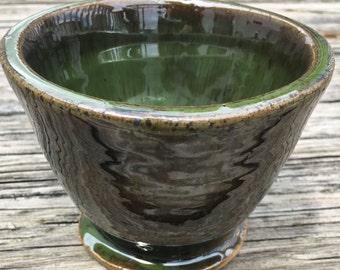 Green Ceramic Mini Planter. Wheelthrown Stoneware Clay.