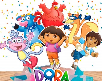 8 Dora The Explorer Centerpieces Double-Sided/ Dora The Explorer Cake Toppers/ Big inch + Small inch/ Dora The Explorer Party/ Printable