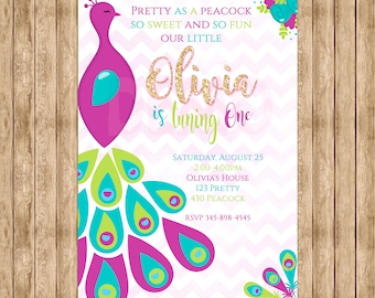 Pretty Peacock Invitation, Peacock Birthday, Peacock Party, Peacock Invitation, Party Girl, Gold, Glitter, Peacock