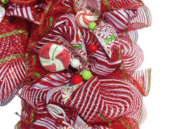 Christmas Candy Decorations.Wreaths Christmas Candy Cane Red White Striped Door Hanger Decor Ribbon Wall Decor Winter Decorations Traditional North Pole Candy Lollipop