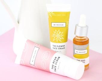 Dry Skin Bundle - Essential skincare set for dry / sensitive skin (face scrub, face moisturiser, face oil)