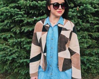 Karen Arnold Neutral Suede Color Blocked Jacket // Medium