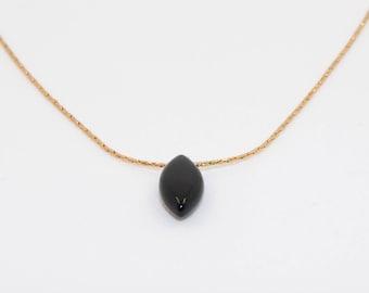 TINY BLACK DROP Necklace