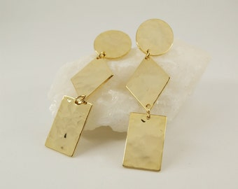 DORA Earrings num 9 - Statement jewelry - Gold filled - Geometric