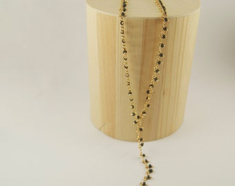 BLACK DOTS Necklace - Gold filled necklace - Onyx gemstone