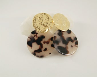 SUN Earrings Light tortoise - Cellulose acetate jewelry - Gold plated