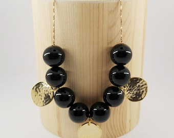 NUX Necklace num 2 - Onyx gemstone beads - Gold filled