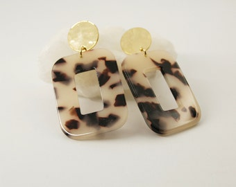 PETRA Earrings L Light tortoise - Cellulose acetate jewelry - Gold plated - Geometric