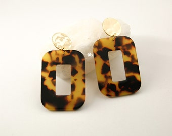 PETRA Earrings L Dark tortoise - Cellulose acetate jewelry - Gold plated - Geometric