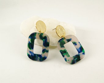 PETRA Earrings S Blue&Green - Cellulose acetate jewelry - Gold plated - Geometric