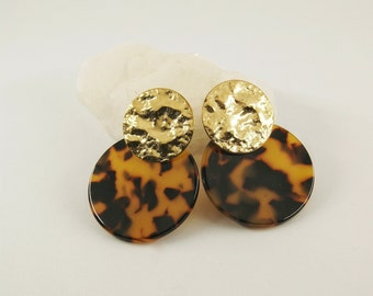 SUN Earrings Dark tortoise - Cellulose acetate jewelry - Gold plated