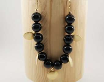 NUX Necklace num 1 - Onyx gemstone beads - Gold filled