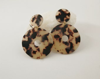 BELLA Earrings - Cellulose acetate jewelry - Gold plated