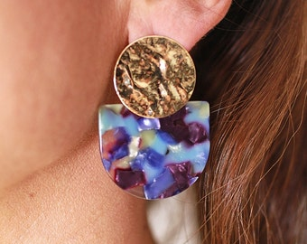 LIA Earrings - Cellulose acetate jewelry - Gold plated
