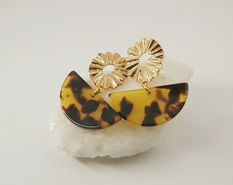 FLOWER Earrings - Cellulose acetate jewelry - Gold plated