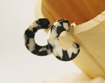 HAPPY Hoops Black&White - Cellulose acetate jewelry - Gold plated - Earrings