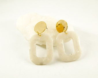 PETRA Earrings S Cream - Cellulose acetate jewelry - Gold plated - Geometric