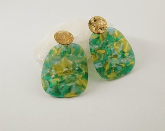 ELIZA Earrings - Cellulose acetate jewelry - Gold plated