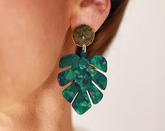 MONSTERA Earrings - Cellulose acetate jewelry - Gold plated