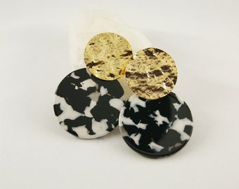 SUN Earrings Black&White - Cellulose acetate jewelry - Gold plated