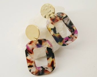PETRA Earrings S Colors - Cellulose acetate jewelry - Gold plated - Geometric
