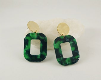 PETRA Earrings S Green - Cellulose acetate jewelry - Gold plated - Geometric