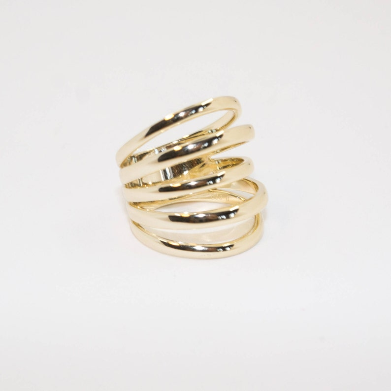 Statement ring Vermeil ring 24kt Gold plated ring Dainty jewelry Minimal Jewelry LINES ring
