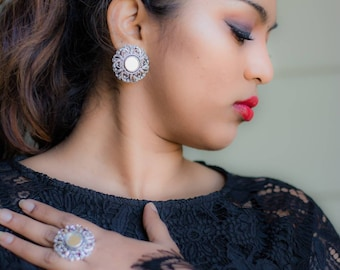 Mirror earrings with ring set