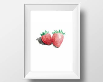 Strawberry Watercolor Archival Art Print, home decor, minimalist art print, food art, contemporary kitchen art, modern home design, berry