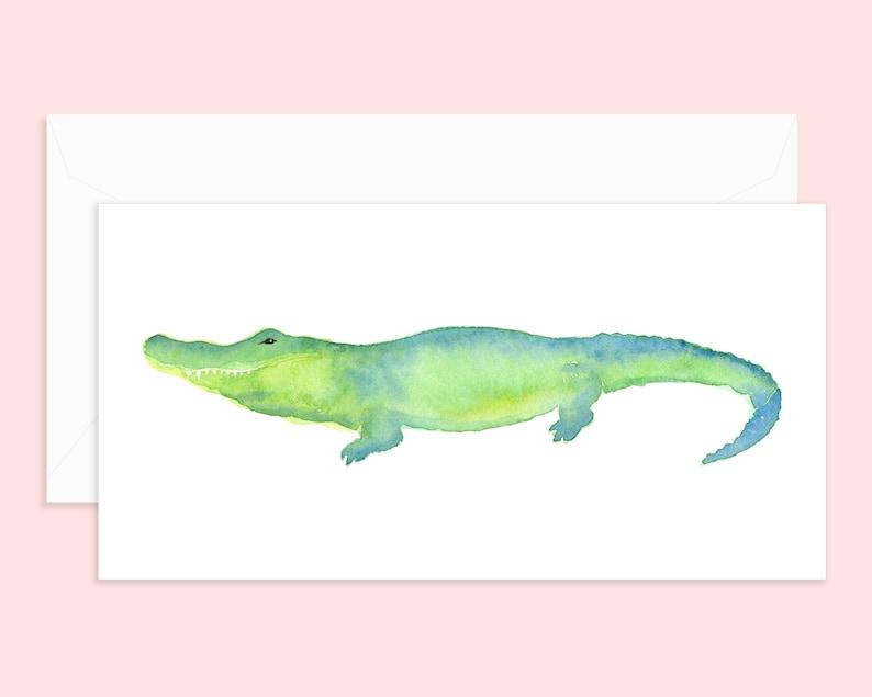 Alligator Notecard /& Envelope Alligator Art Blank Card Single or Set of 4 Alligator Watercolor Watercolor Card Greeting Card
