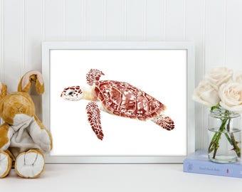 Sea Turtle Art Print, Watercolor Original Archival Print | 5x7 8x10 11x14 | Sea turtle watercolor print