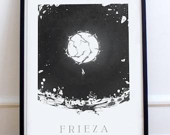 Dragon Ball Z Poster Poster Freezer Minimalist, Fanart Illustration, Digital Printing