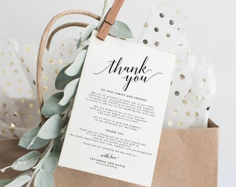 Wedding Thank You Cards Template, Printable Thank You Card, Wedding Thank You Tags, Wedding Thank You Notes, Thank You Cards Wedding