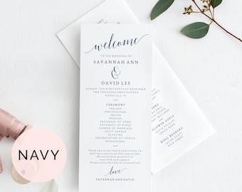 Navy Wedding Program Template, Printable Wedding Program, Wedding Program Printable, Programs For Wedding, Wedding Ceremony Program Template
