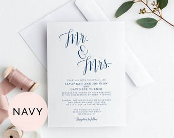 Navy Wedding Invitation Template, Wedding Invitation Printable, Wedding Invites, Printable Wedding Invitation, Mr and Mrs Wedding Invitation