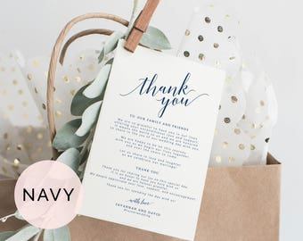 Navy Wedding Thank You Cards Template, Printable Thank You Card, Wedding Thank You Tags, Wedding Thank You Notes, Thank You Cards Wedding