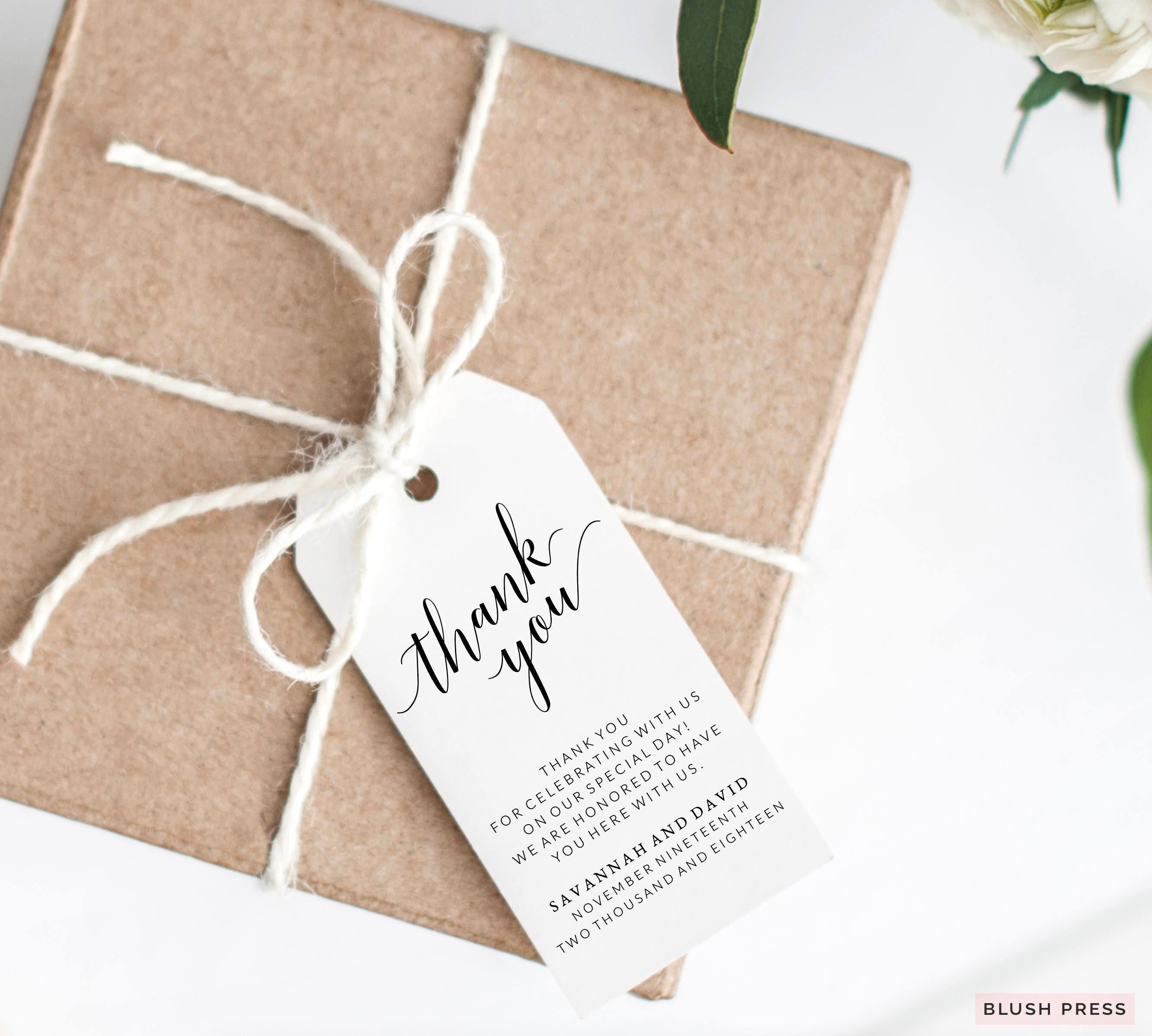 Thank You Tags Wedding Thank You Tags Printable Wedding