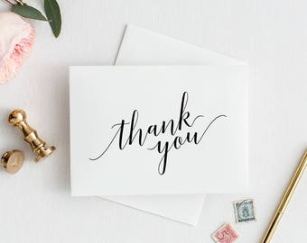 Wedding Thank You Cards, Printable Thank You Wedding Cards,  Thank You Cards Wedding, Calligraphy Thank You Cards, Elegant Thank You Cards