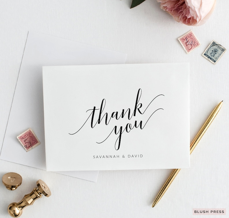 Wedding Thank You Cards Template Printable Baby Shower Thank Etsy
