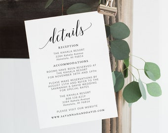 Wedding Details Card Template, Printable Details Card Wedding, Detail Card, Information Card, Enclosure Card, Insert Card, Info Card SAV-017